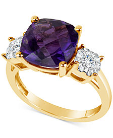 Amethyst (4 ct.t.w.) & Diamond (1/3 ct.t.w.) Ring in 14k Gold
