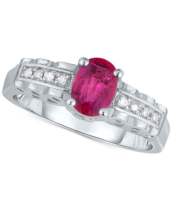 Macy's Certified Ruby (9/10 ct. t.w.) & Diamond Accent Ring in Sterling Silver