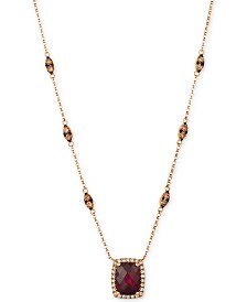 Le Vian® Pomegranate Garnet™ (2 1/3 ct.t.w.) and diamond (7/8 ct.t.w.) Necklace set in 14k Rose Gold®