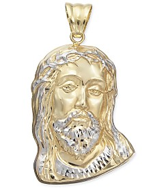 Two-Tone Christ Pendant in 14k Gold & White Gold