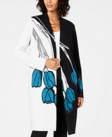 Alfani Petite Printed Colorblocked Cardigan, Created for Macy's