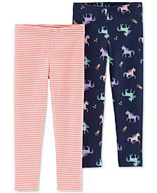 Carter's Baby Girls 2-Pk. Unicorn Print & Striped Leggings