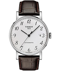 Men's Swiss Automatic T-Classic Everytime Swissmatic Brown Leather Strap Watch 40mm