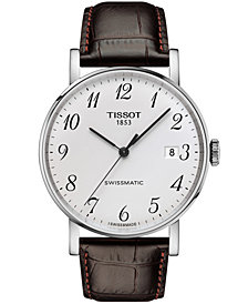 Tissot Men's Swiss Automatic T-Classic Everytime Swissmatic Brown Leather Strap Watch 40mm