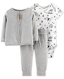 Carter's Baby Girls 3-Pc. Printed Bodysuit, Fleece Cardigan & Pants Set