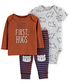 Carter's Baby Boys 3-Pc. Cotton Hugs T-Shirt, Bear-Print Bodysuit & Striped Pants Set