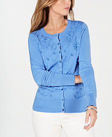 Charter Club Soutache Button-Front Cardigan, Created for Macy's
