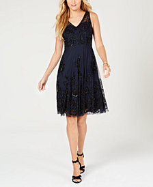 Adrianna Papell Petite Beaded A-Line Dress