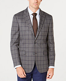 Tommy Hilfiger Men's Modern-Fit TH Flex Stretch Gray/Blue Windowpane Sport Coat