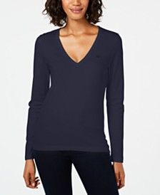 Lacoste Cotton V-Neck Top
