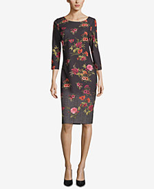 ECI Floral-Print 3/4-Sleeve Sheath Dress