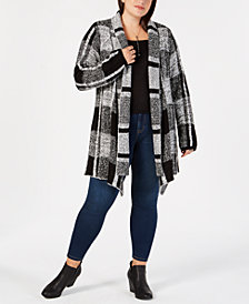 Style & Co Plus Size Jacquard Plaid Open-Front Cardigan, Created for Macy's