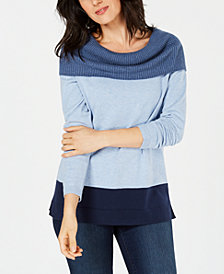 Karen Scott Cotton Colorblocked Cowl-Neck Sweater, Created for Macy's