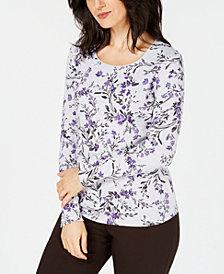 Karen Scott Printed Long-Sleeve T-Shirt, Created for Macy's