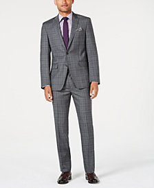 Tallia Men's Slim-Fit Stretch Gray/Blue Plaid Suit