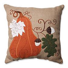 """Harvest Squash Burlap 16.5"""" Throw Pillow"""
