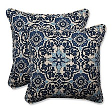"Woodblock Prism Blue 18.5"" Throw Pillow, Set of 2"