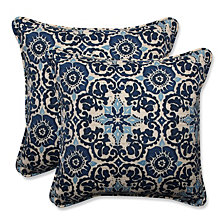 """Woodblock Prism Blue 18.5"""" Throw Pillow, Set of 2"""
