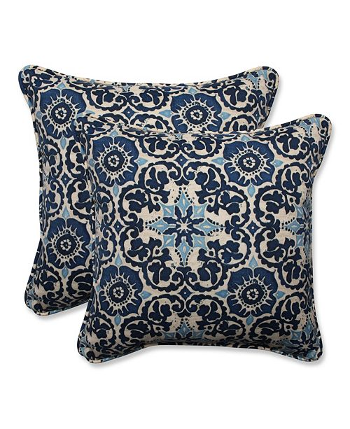 "Pillow Perfect Woodblock Prism Blue 18.5"" Throw Pillow, Set of 2"