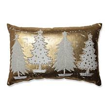 Glamour Multi Trees Gold-White Rectangular Throw Pillow