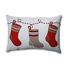 Country Home Stockings Red/White Rectangular Throw Pillow