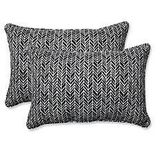 Herringbone Night Over-sized Rectangular Throw Pillow, Set of 2