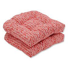 Herringbone Tomato Wicker Seat Cushion, Set of 2