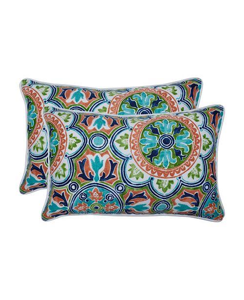 Pillow Perfect Lagoa Tile Flamingo Rectangular Throw Pillow, Set of 2
