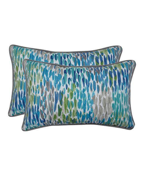 Pillow Perfect Make It Rain Cerulean Rectangular Throw Pillow, Set of 2