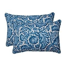 Tucker Resist Azure Over-sized Rectangular Throw Pillow, Set of 2