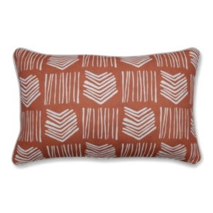 This decorative lumbar pillow unifies medium scaled tribal arrows, with slender vertical lines, to create a dynamic mud cloth pattern. This pillow is perfect for transitioning interior decor. Additional features include a contrast cord for a beautiful finish and recycled polyester fiber fill with a sewn seam closure.