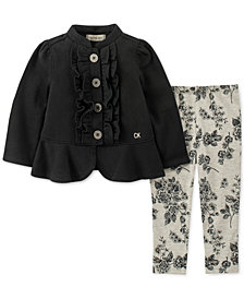 Calvin Klein Little Girls 2-Pc. Ruffle-Trim Fleece Jacket & Printed Leggings Set