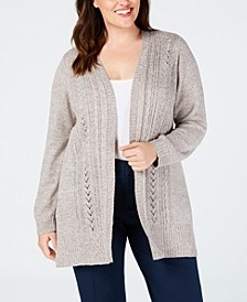 Plus Size Pointelle Open-Front Cardigan, Created for Macy's