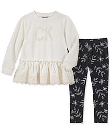 Calvin Klein Little Girls 2-Pc. Velour Top & Leggings Set