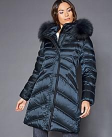Hooded Fox-Trim Puffer Coat