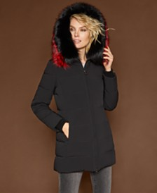 The Fur Vault Hooded Fox-Trim Coat