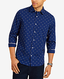Nautica Men's Big & Tall Classic Fit Flag Print Long Sleeve Shirt