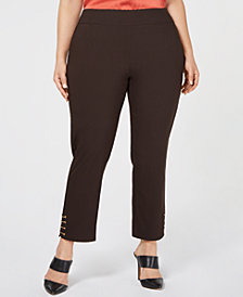 JM Collection Plus Size Chain-Trim Pull-On Pants, Created for Macy's