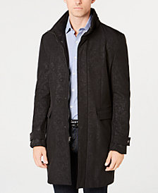 DKNY Men's Slim-Fit Geometic Pattern Raincoat