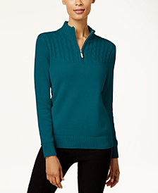 Karen Scott Cotton Zip-Up Sweater, Created for Macy's