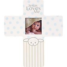 Precious Lamb Jesus Loves Me Cross Photo Frame, Boy