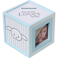 Precious Lamb Jesus Loves Me Photo Cube Bank, Boy