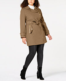 MICHAEL Michael Kors Plus Size Asymmetrical Belted Coat
