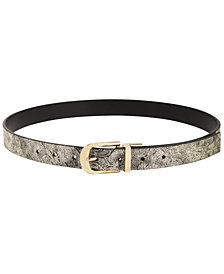 I.N.C. Metallic-Floral & Pop-Color Reversible Belt, Created for Macy's