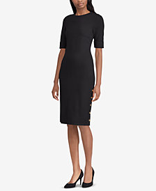 Lauren Ralph Lauren Button-Trim Ponté Knit Dress