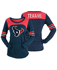 5th & Ocean Women's Houston Texans Tri-Blend Distressed Long Sleeve T-Shirt