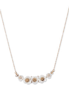 "lonna & lilly Gold-Tone Crystal & Imitation Mother-of-Pearl Flower Collar Necklace, 16"" + 3"" extender"