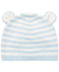 Ralph Lauren Baby Boys Bear-Ear Cotton Hat