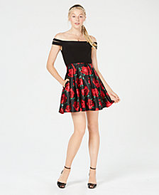 Blondie Nites Juniors' Off-The-Shoulder Contrast Fit & Flare Dress