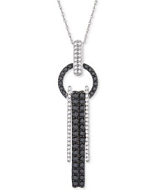 "Wrapped in Love™ Diamond Fringe Ring 18"" Pendant Necklace (1 ct. t.w.) in 14k White Gold, Created for Macys"